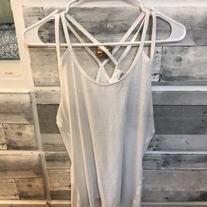 White burnout workout tank
